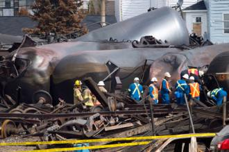 Wreckage left behind by the oil train crash at Lac Mégantic
