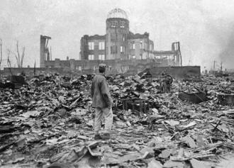 Devastation in Hiroshima after the U.S. atomic bomb was dropped