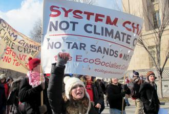 The ecosocialist contingent marching in a Washington, D.C., protest against the Keystone XL pipeline