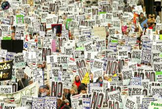 Throngs of antiwar protesters joined together in New York City on February 15, 2003