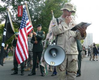 IVAW members march on the streets of St. Paul, Minn., outside the 2008 Republican National Convention (Jeff Engelhart)
