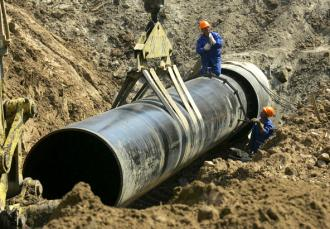 Part of the Keystone XL pipeline under construction