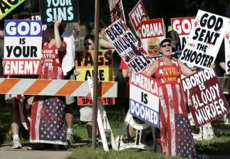 Members of the ultra-conservative Westboro Baptist Church picketed the funeral for Dr. George Tiller (Allison Long   Kansas City Star)