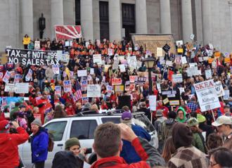 Protesters gathered to protest plans for a new round of austerity in Washington state (Sam Bernstein | SW)