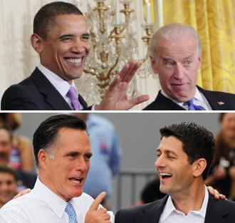 Barack Obama and Joe Biden; Mitt Romney and Paul Ryan