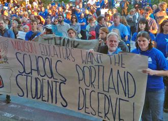 Madison High School teachers at the front of the crowd outside Portland Public Schools headquarters (Chris Beck | SW)