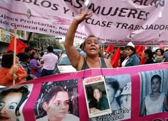 A demonstration to protest femicides in Mexico