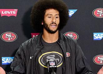 Quarterback Colin Kaepernick fields questions during a media session