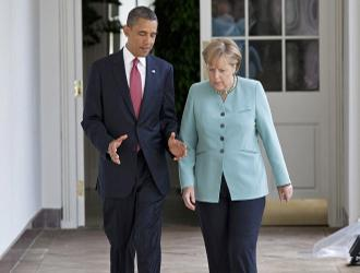 Angela Merkel with Barack Obama on a visit to the White House (Pete Souza)