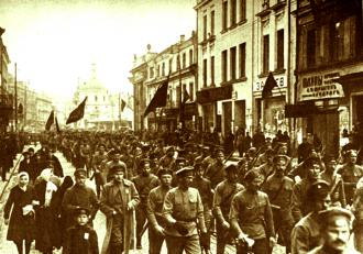 Soldiers on the march through Petrograd in a demonstration during the 1917 Russian Revolution