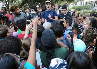 Students protest an anti-affirmative action group at the University of Texas at Austin