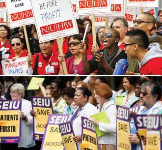 NUHW and SEIU health care workers rally their members in California