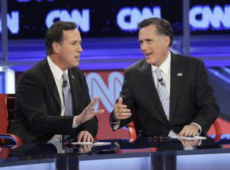 Republican presidential contenders Rick Santorum and Mitt Romney