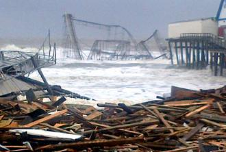 The storm surge from Hurricane Sandy washes over debris in Atlantic City