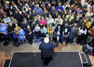 Bernie Sanders speaks to a big crowd in Iowa