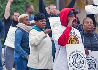 Striking transit workers in Philadelphia take to the picket line