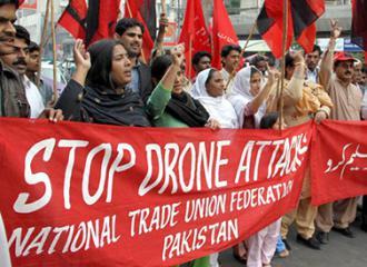 Demonstrators in Pakistan march against U.S. drone strikes