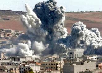 Bombs rain down on a Syrian city