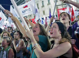 Syriza supporters at an election rally