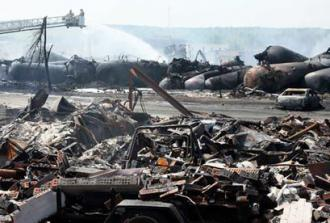 Wreckage from the oil train disaster at Lac-Mégantic, Quebec