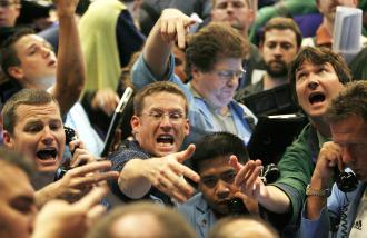 Frantic traders looking to sell as the stock market drops further (Brian Kersey | UPI)