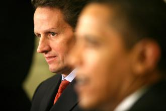 Treasury Secretary Tim Geithner, with President Obama, at a White House press conference (Gary Fabiano | UPI)