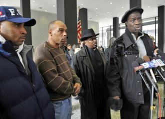 Survivors of Chicago police torture (left to right): Victor Saffold, Mark Clements, Anthony Holmes and Darrell Cannon