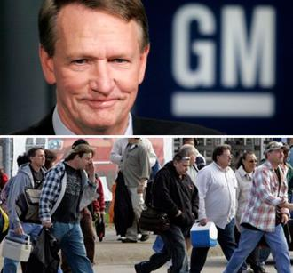(Top) Former GM CEO Rick Wagoner, (Bottom) auto workers leaving a GM plant