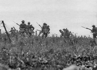 British soldiers sent out in an attack during the Battle of the Somme