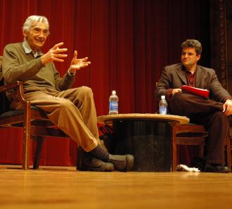Howard Zinn and Dave Zirin at the 2009 Campaign to End the Death Penalty convention (Eric Ruder | SW)
