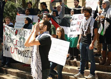 Palestine solidarity organizers demonstrate against Israeli apartheid the University of Texas (Palestine Solidarity Committee - Austin)