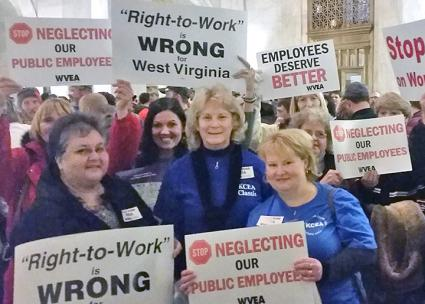 "Public school teachers rally against ""right to work"" legislation in West Virginia (West Virginia Education Association | Facebook)"