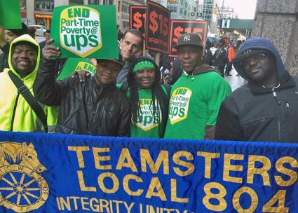 Members of Teamsters Local 804 demonstrate in New York City (Teamsters Local 804 | Facebook)