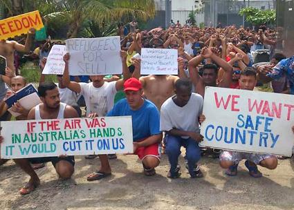A protest in a migrant prison camp on Manus in Papua New Guinea (Hincerooney | Twitter)
