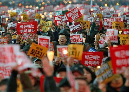 Masses of people flood the streets of Seoul days before the ouster of South Korean President Park Geun-hye