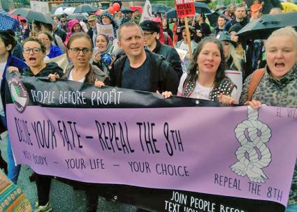 Socialist activists with People Before Profit march for abortion rights in Ireland (People Before Profit | Facebook)