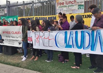 Teachers and activists rally to demand the release of Claudia Rueda from ICE detention