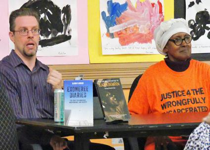 David Bliven (left) and Sharonne Salaam speak at a Justice 4 the Wrongfully Incarcerated discussion