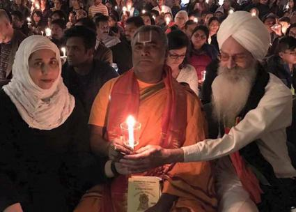 Sikh, Hindu and Muslim religious leaders send a message of solidarity at a vigil for Srinivas Kuchibhotla in Kansas (Crescent Peace Society | Facebook)