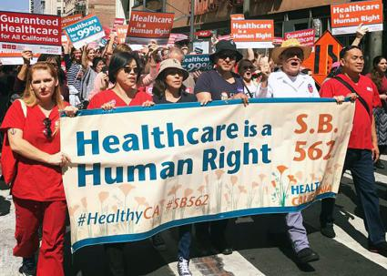 Nurses take to the streets for single-payer health care in California (Healthy California | Facebook)