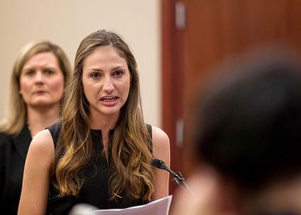 Survivor Kyle Stephens confronts her abuser Larry Nassar in a Michigan courtroom