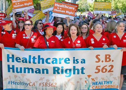 California nurses take to the streets to demand universal health care (California Nurses Association | Facebook)