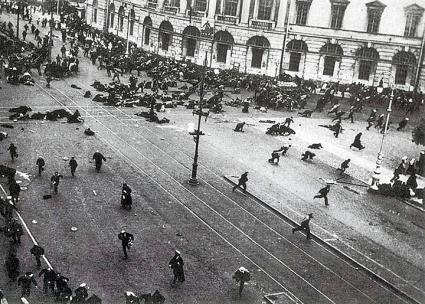 Troops fire on a demonstration of workers, soldiers and sailors in Petrograd during the July Days (Viktor Bulla | Wikimedia Commons)