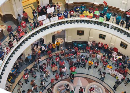 "Opponents of SB 4 in Texas launched a ""Summer of Resistance"" with protests in the Capitol building (Jeffrey Harland 