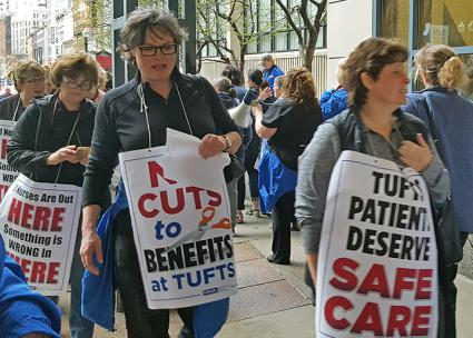 Nurses at the Tufts Medical Center picket to demand a fair contract