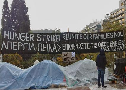 Refugees on hunger strike in Athens' Syntagma Square (Ida-Sophie Picard and Will Searby | rs21.org.uk)