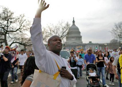 Jean Montrevil on the march in Washington, D.C. (New Sanctuary Coalition of New York City | Facebook)