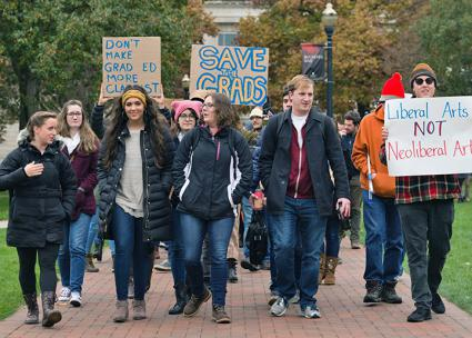 Graduate students and their supporters on the march at Ohio State (Ralph Orr)
