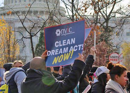Protesters rally outside the U.S. Capitol in defense of DACA (New York Immigration Coalition   Facebook)
