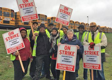 Striking school bus drivers on the picket line in Seattle (Teamsters Local 174 | Facebook)
